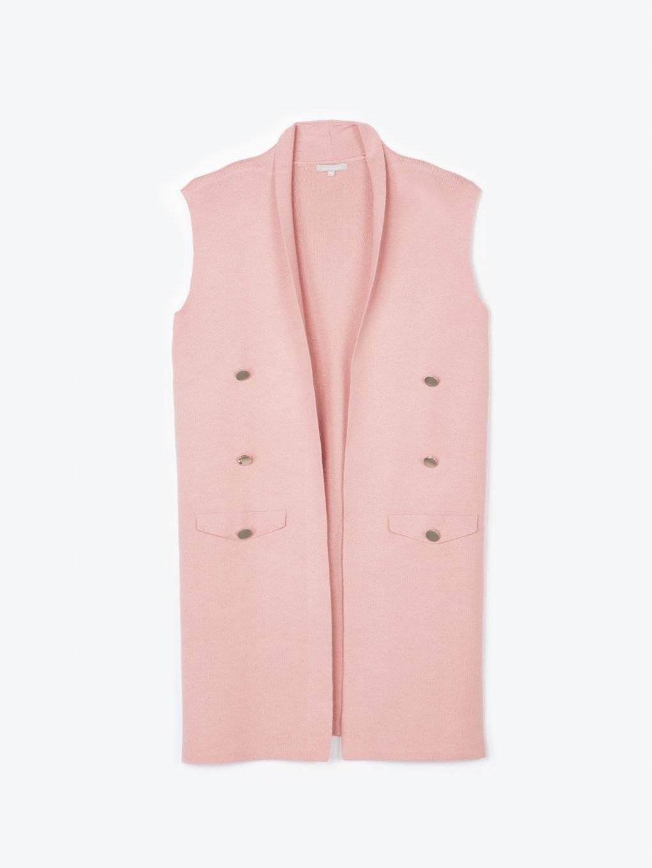Longline sleeveless cardigan