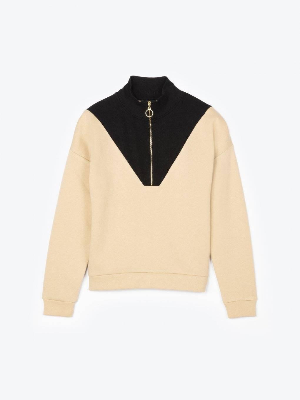 Combined sweatshirt with zipper
