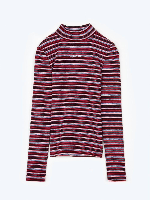 Proužkované tričko s vysokým límcem, dlouhým rukávem a výšivkou