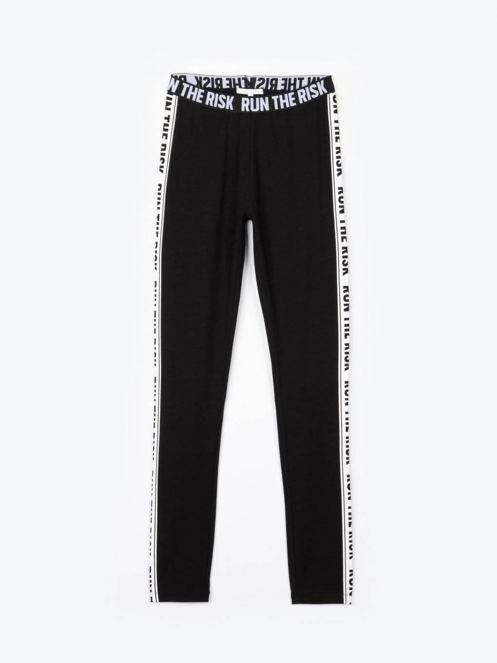Cotton leggings with message print