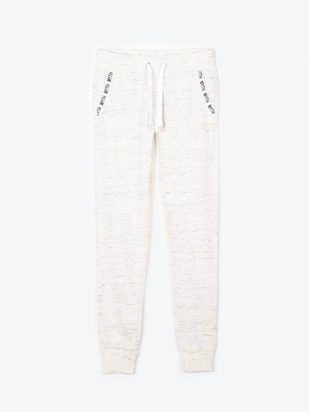 Marled sweatpants with decorative tape