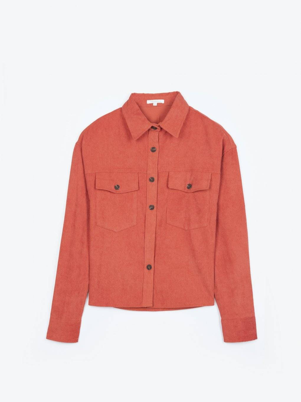 Corduroy boxy shirt with chest pockets