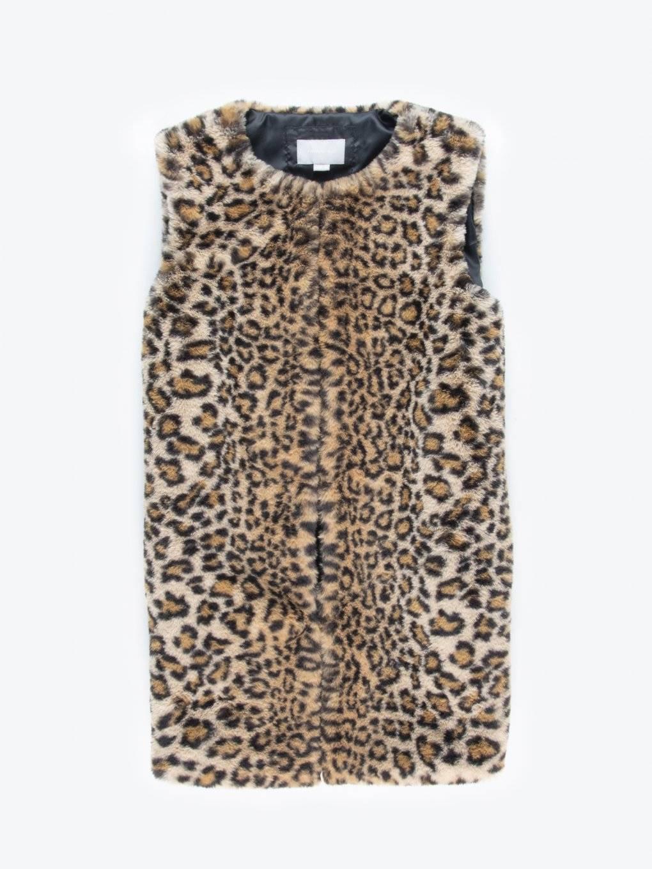 Leopard pattern faux fur vest