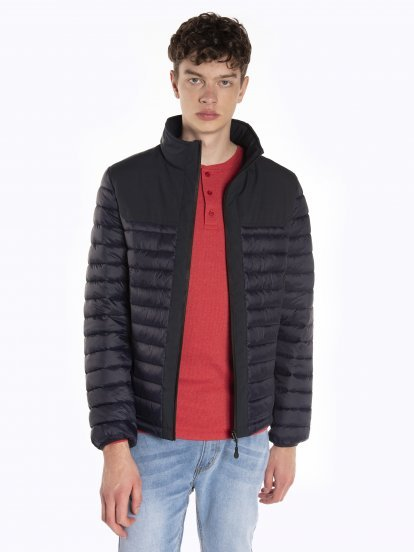Combined light padded quilted jacket