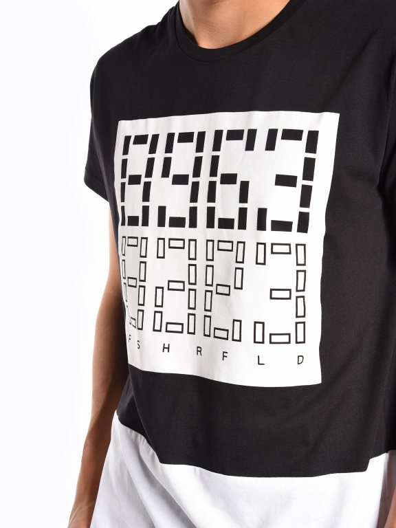 Dwukolorowa koszulka z nadrukiem