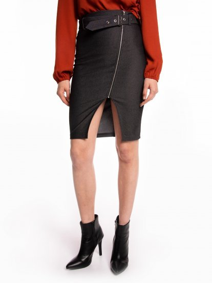 Bodycon skirt with decorative belt and asymmetric zipper