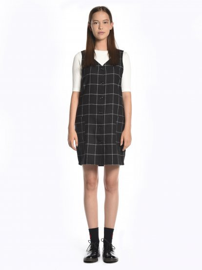 Plaid button down sleeveless dress