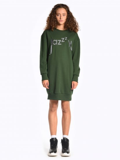 Sweatshirt dress with application