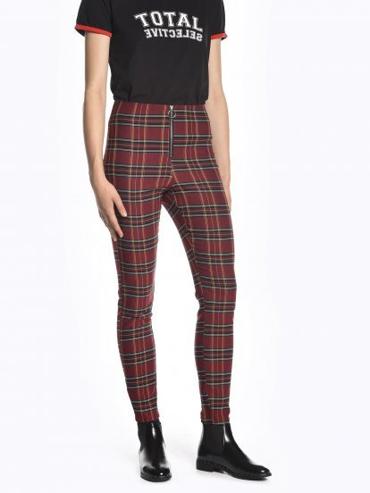 Plaid stretchy skinny trousers