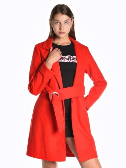 Robe coat with metal buckle