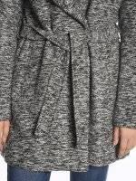 Marled hooded coat with belt