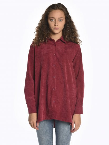 Corduroy blouse with back patch