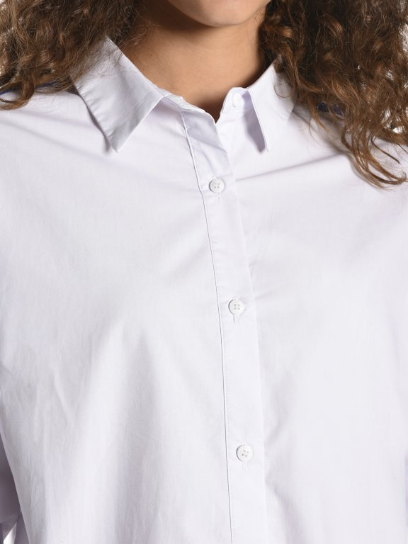 Cotton boyfriend fit shirt with contrast tapes
