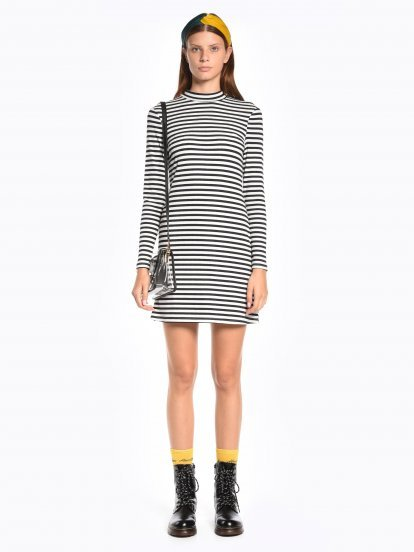 Striped ribbed high neck dress