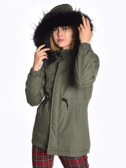 Cotton padded parka with removable hood