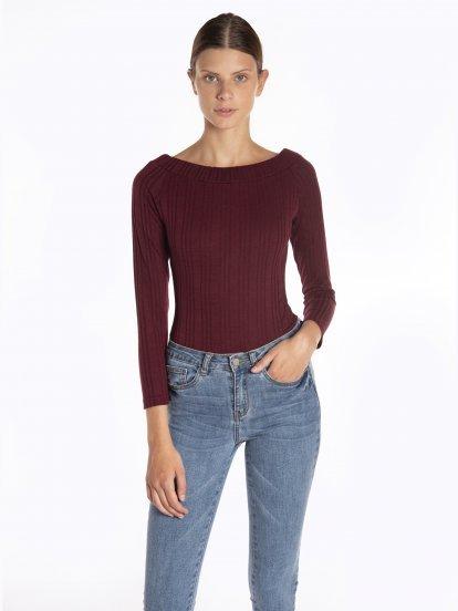Wide collar ribbed bodysuit