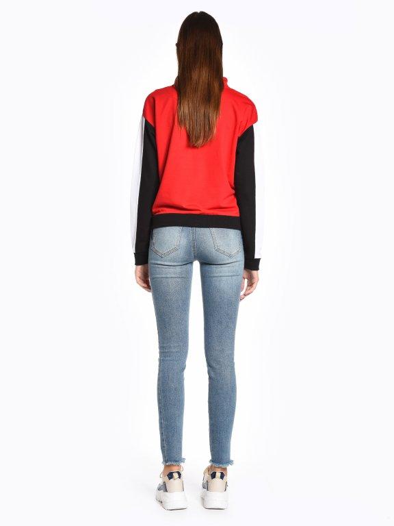 Panelled sweatshirt with zipper