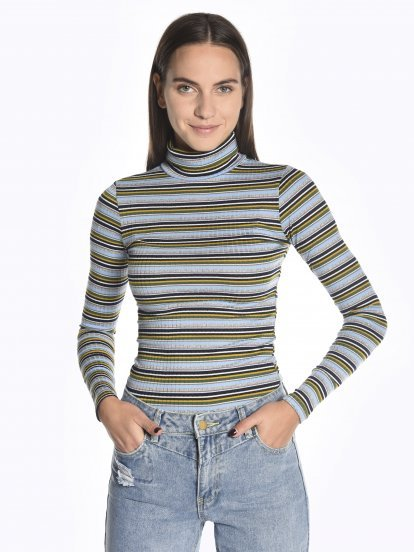 Striped roll neck t-shirt