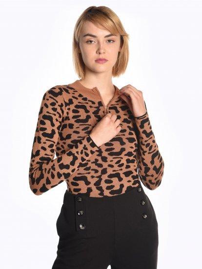 Jacquard jumper with zipper