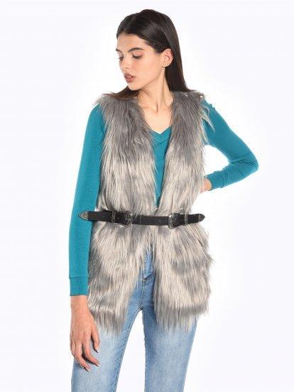 Longline faux fur waistcoat