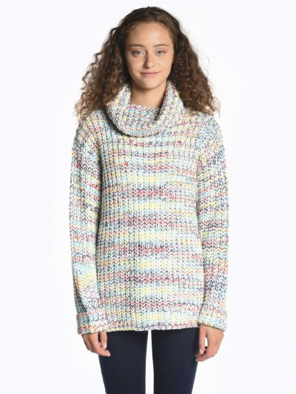 Colourful rollneck pullover