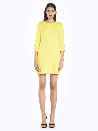 Bell sleeve plain dress