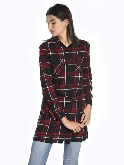 Longline plaid blouse with belt
