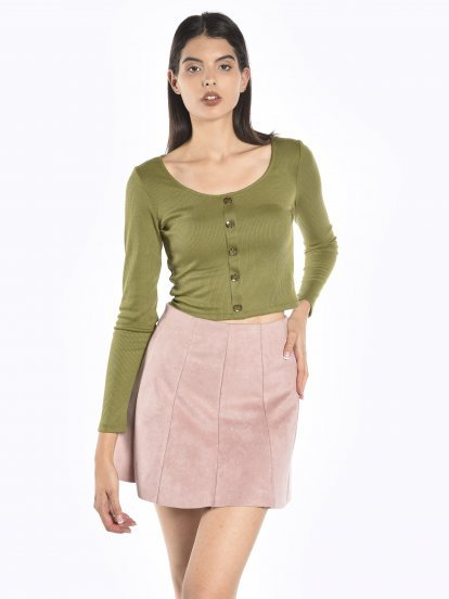 Ribbed long sleeve top with buttons