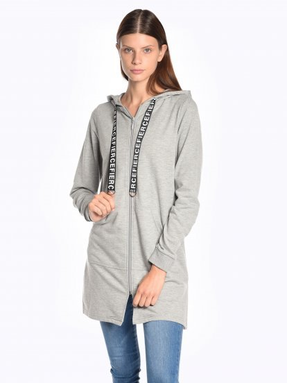 Longline zip-up hoodie with decorative lace