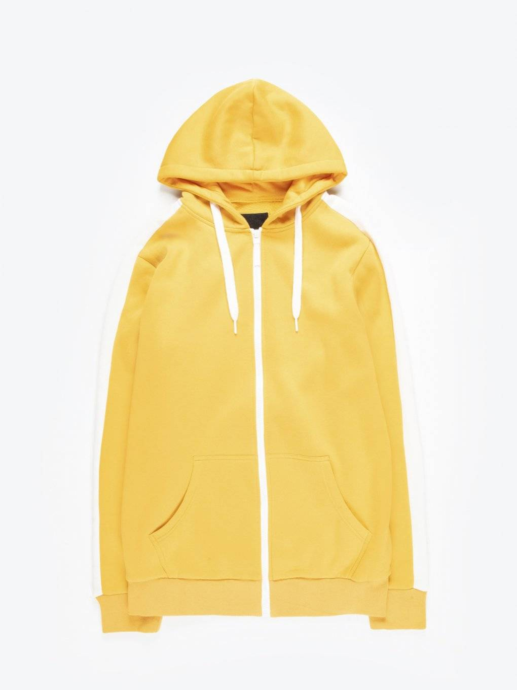 Zip-up hoodie with sleeve stripe