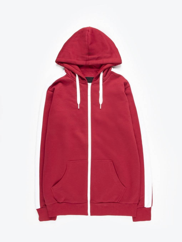 Zip-up hoodie with sleeve stripe