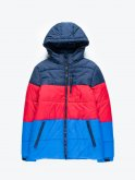 Colour block puffer jacket with hood