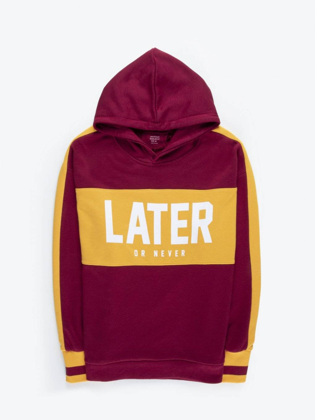 Colour block hoodie with slogan print