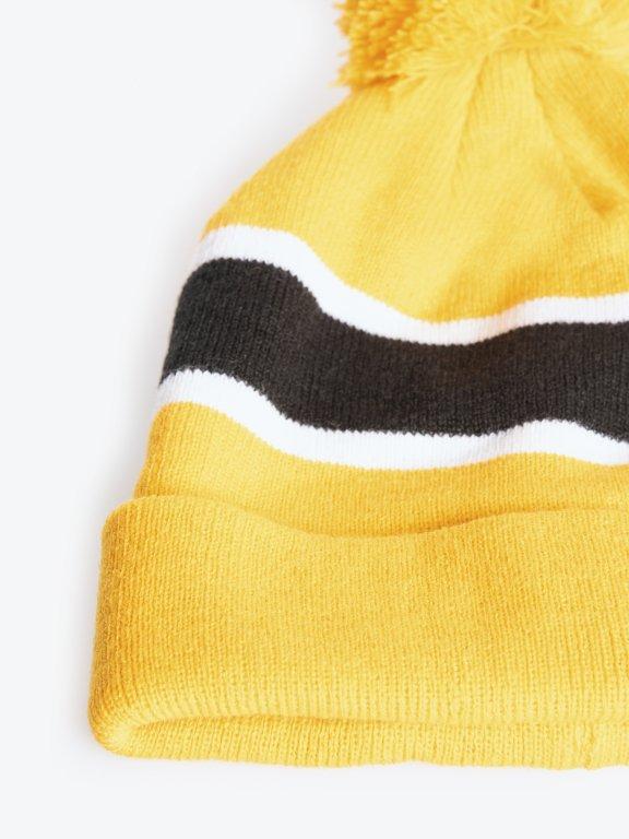 Pom pom beanie with stripes