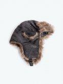 Faux fur lined trapper hat
