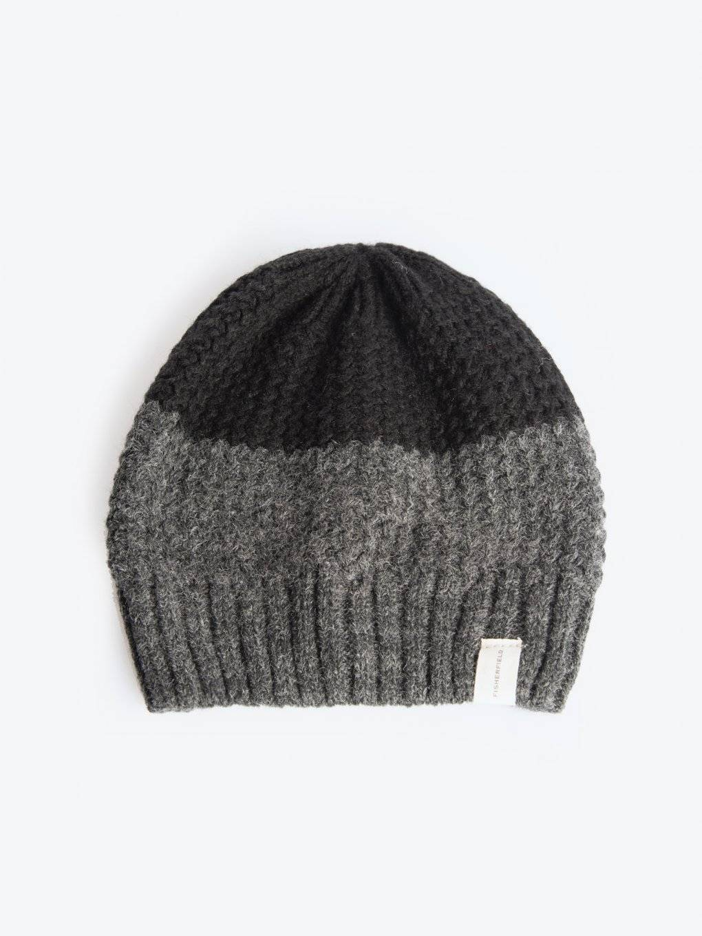 Colour block beanie in wool blend