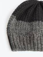 Colour block beanie in wool blend