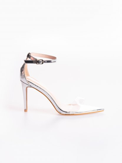 Metallic high heel sandals with transparent plastic strap