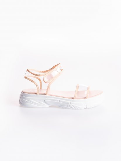 Sandals with transparent plastic strap
