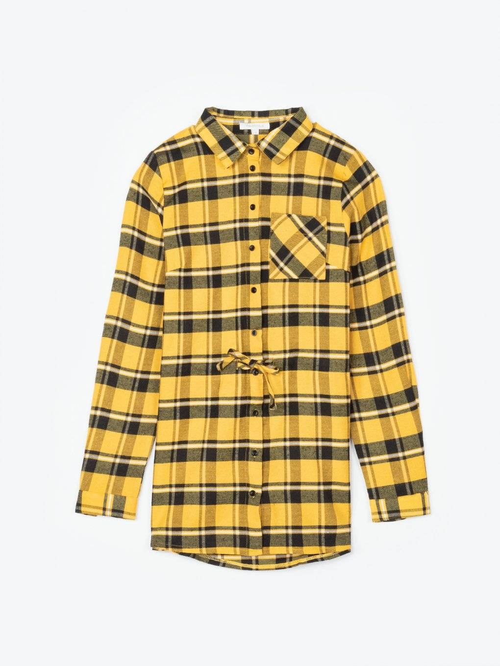 Longline plaid cotton shirt