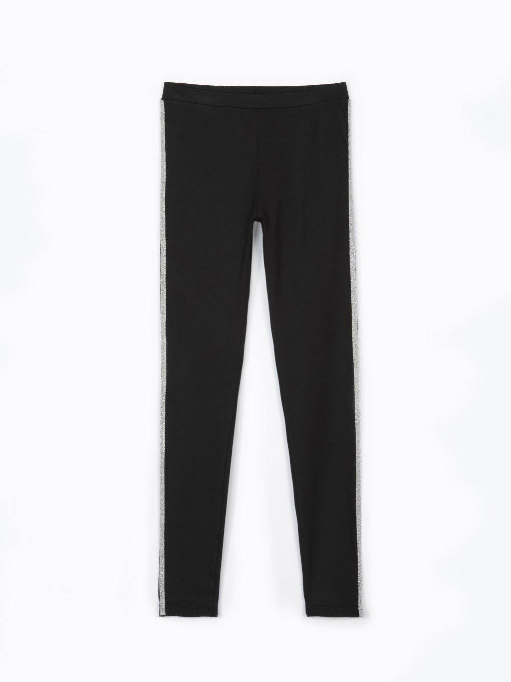 Leggings with silver side stripe