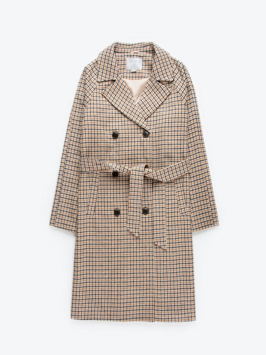 Plaid coat with belt