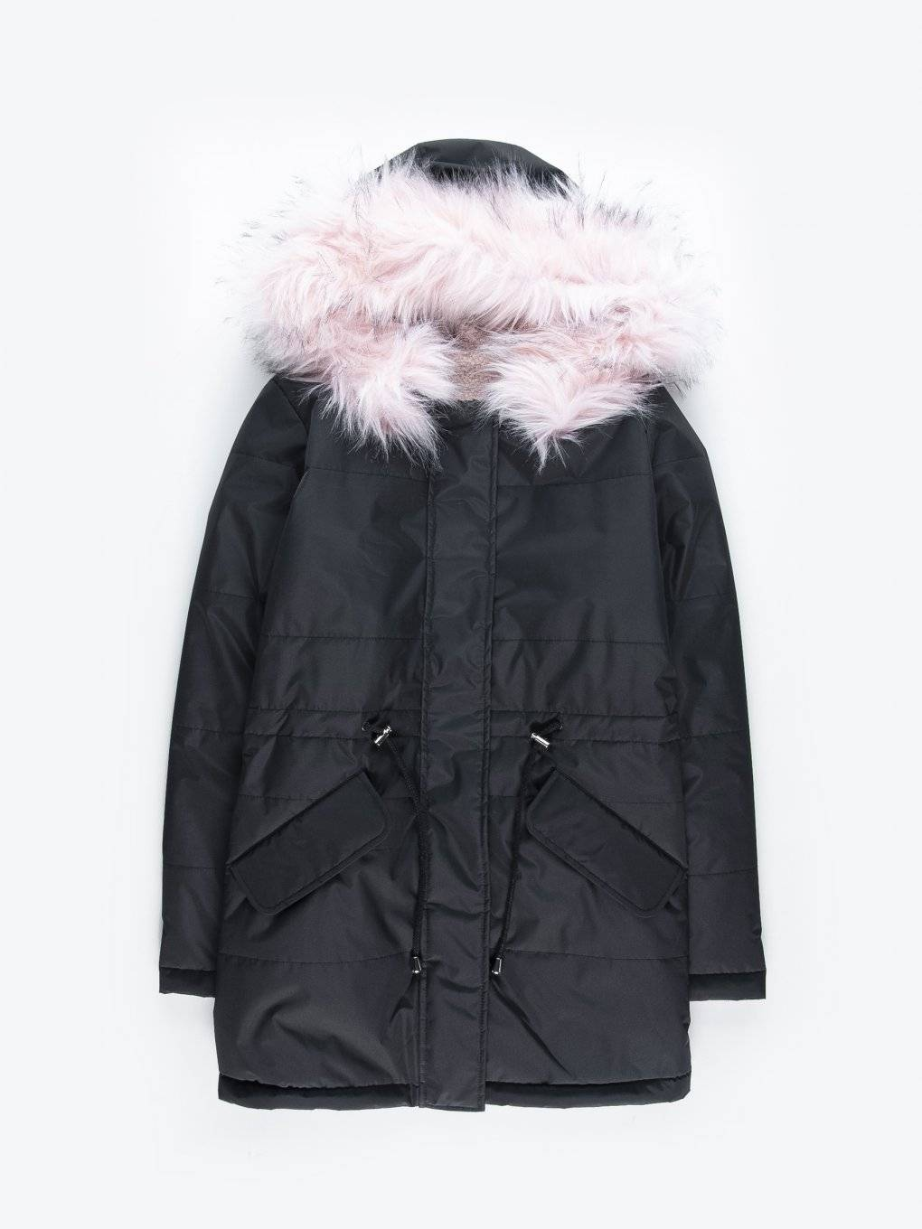 Reversible parka with faux fur