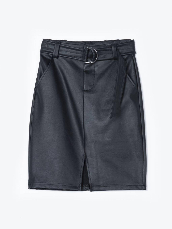 Pouzdrová sukně z imitace kůže s páskem