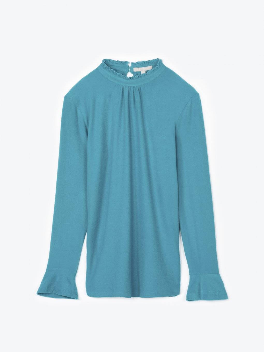Top with high neck and ruffle sleeves
