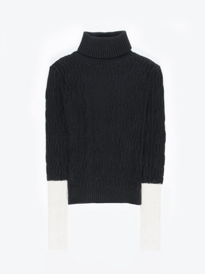 Colour block sleeved structured roll neck pullover