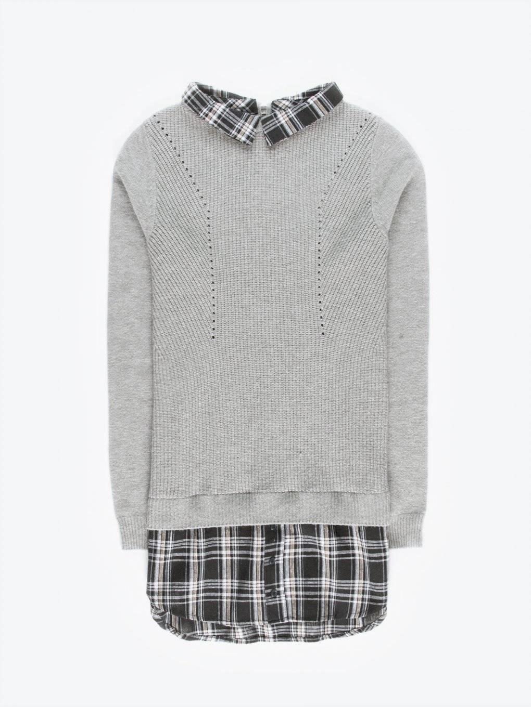 Strukturovaný svetr s košilovými detaily
