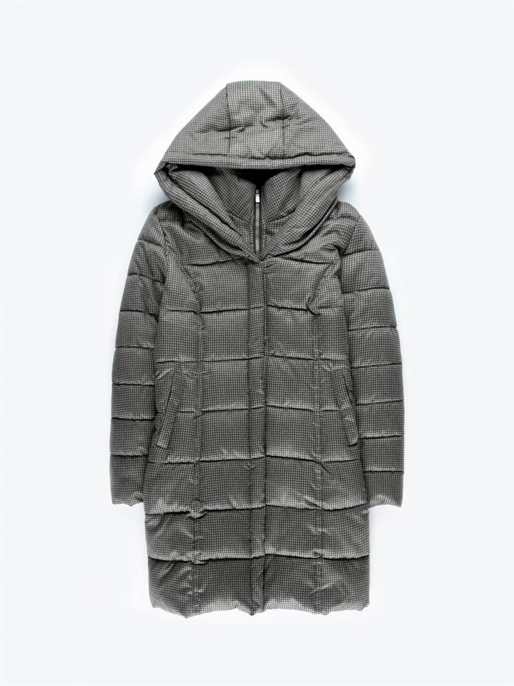 Marled quilted padded jacket with hood