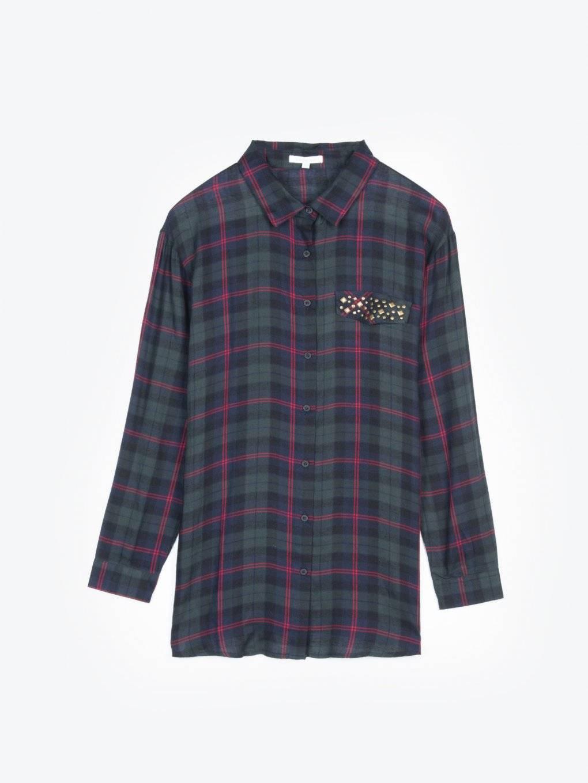 Dlhá károvaná viskózová košeľa s kovovými nitmi