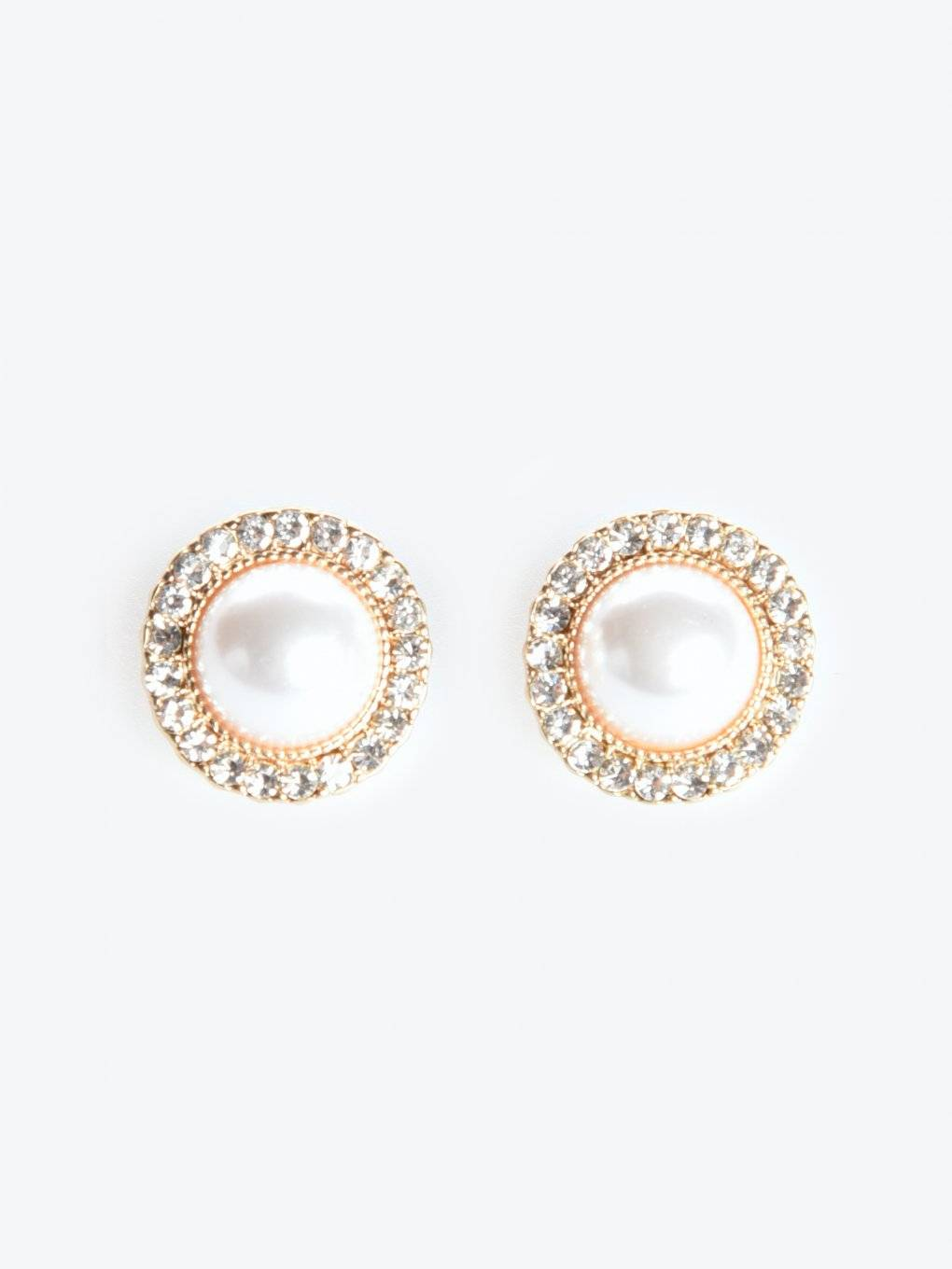 Earrings with pearl and stones